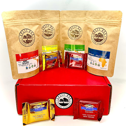 Coffee & Chocolate Gift Set - 4 Assorted Coffee Bags and 4 Assorted Chocolates