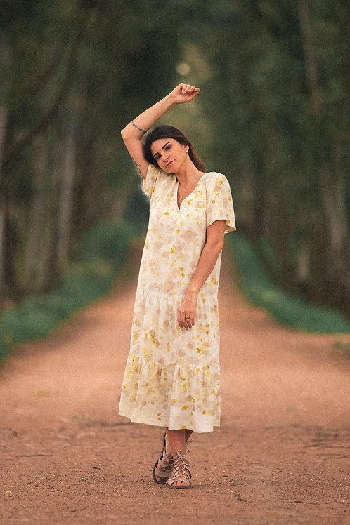 Vestido midi de estamparia botânica