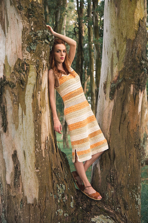 Vestido Crochet tingimento natural