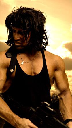 Rambo bright background gun 2