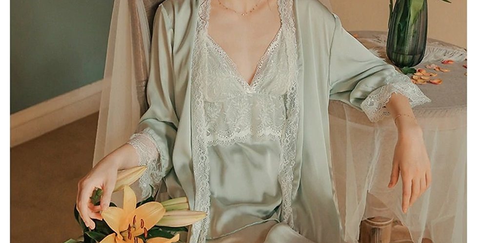 3 pc Pyjama Gown Set,Lace Embroidery Nightgown For Women,Comfortable Loungewear