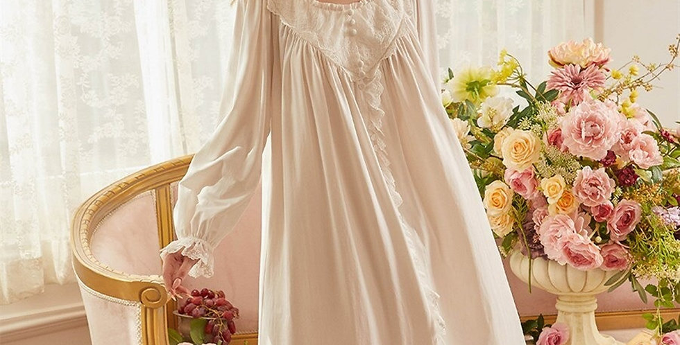 Lace Chemise Vintage Victorian Cotton Nightgown,Long Edwardian French Nightgown