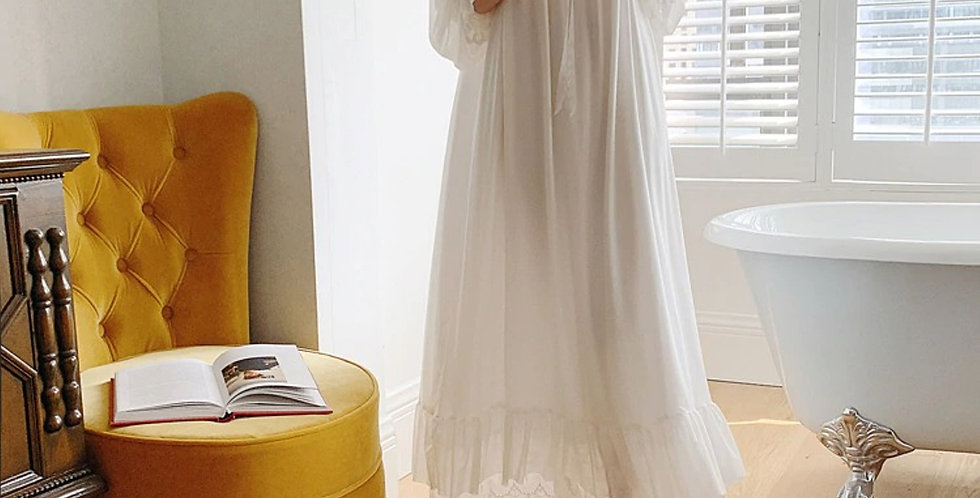 Long Comfy Vintage Victorian Nightgown,Anniversary Gift Beautiful Nightgown