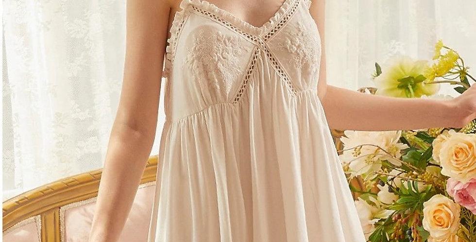 Cotton Vintage Night Sling Dress  Lace Embroidery Sleeveless Vintage Sling Dress