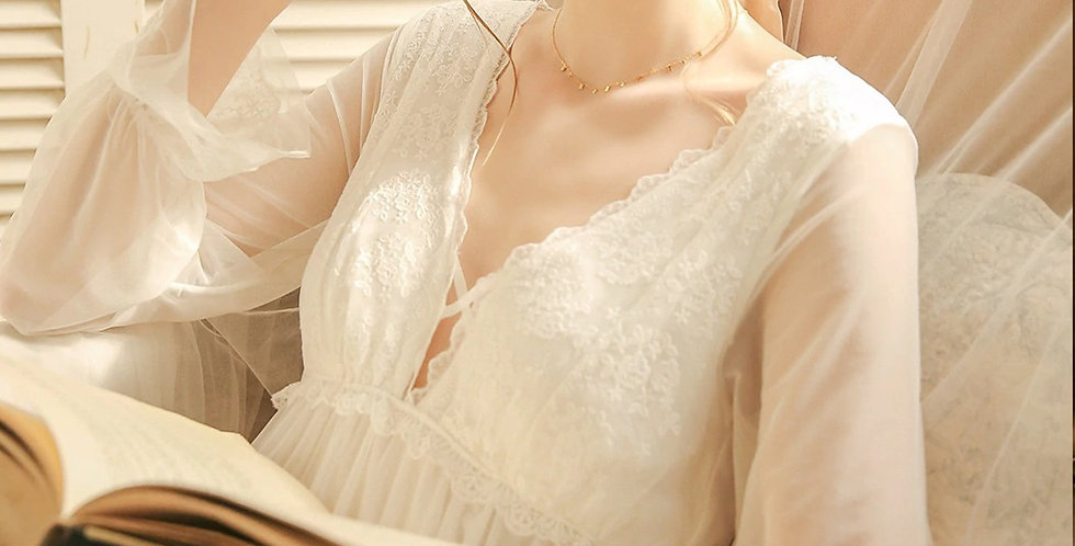 White Vintage Nightgown,Chemise Victorian Nightgown, Comfortable Nightwear