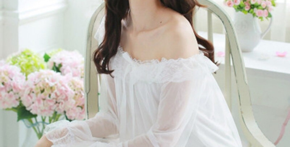 Soft Long White Lace Nightgown,Vintage Style Cotton Soft Comfortable Nightgown