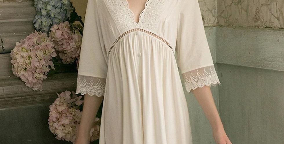 Summer White Cotton Nightgown For Women,Vintage Summer Comfy Nightwear For Women