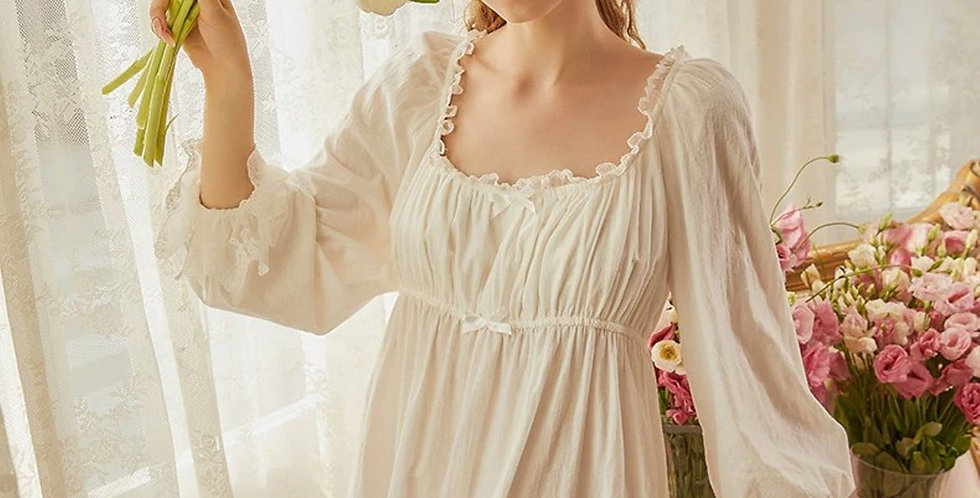 White Cotton Long Sleeve Vintage Victorian Nightgown, Cotton Vintage Nightgown