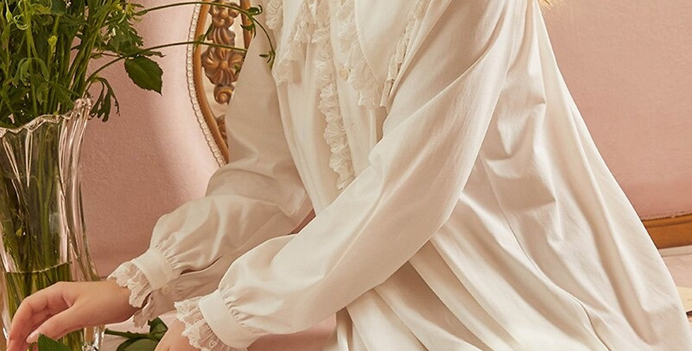 Beautiful Lace Cotton Vintage Victorian Nightgown For Women,Chemise French Gown