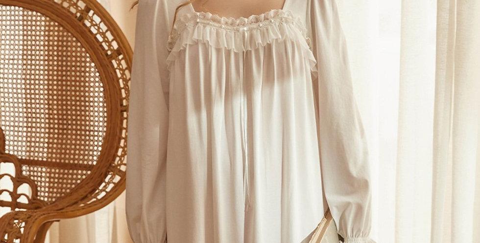 White Vintage Cotton Nightgown,Victorian Edwardian Beautiful White Nightgown