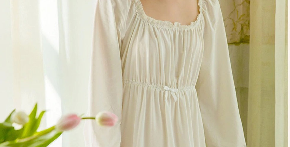 White Cotton Vintage Long Sleeve Nightgown,Gift For Her Edwardian Nightgown