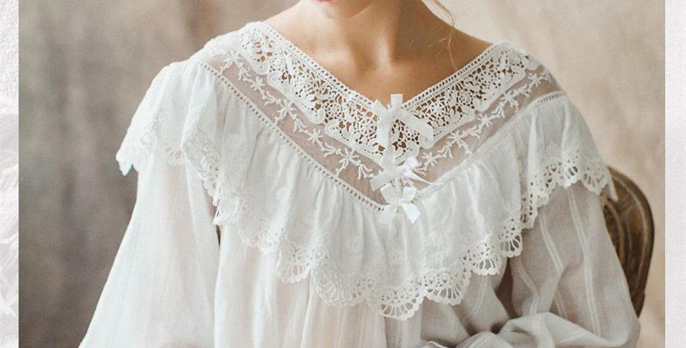White Victorian nightgown, Edwardian nightgown,Vintage Cotton nightgown 