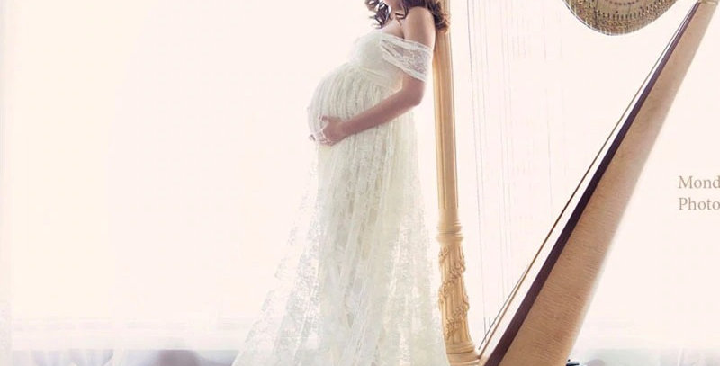 Maternity Dress For Photoshoot,Beautiful Baby shower Dress,Lace Maternity Gown