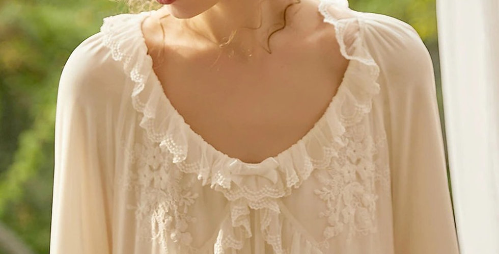 White Lace Cotton Vintage Victorian Nightgown For women,GiftForHer Vintage Gown