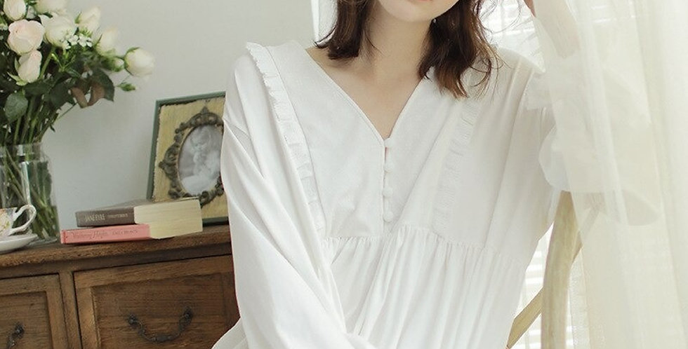 Beautiful White Cotton Vintage Nightgown,Chemise Comfortable Nightwear For Women