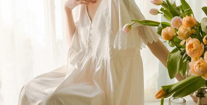 Vintage Cotton White Nightgown  Chemise European French Cotton Nightgown