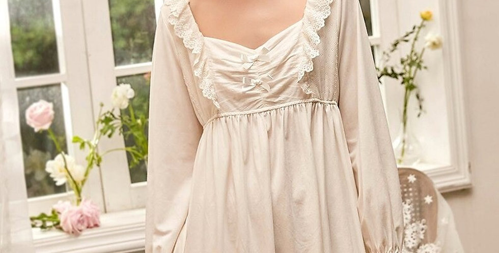 Spring Long White Cotton Vintage Victorian Nightgown, Chemise French Cotton Gown