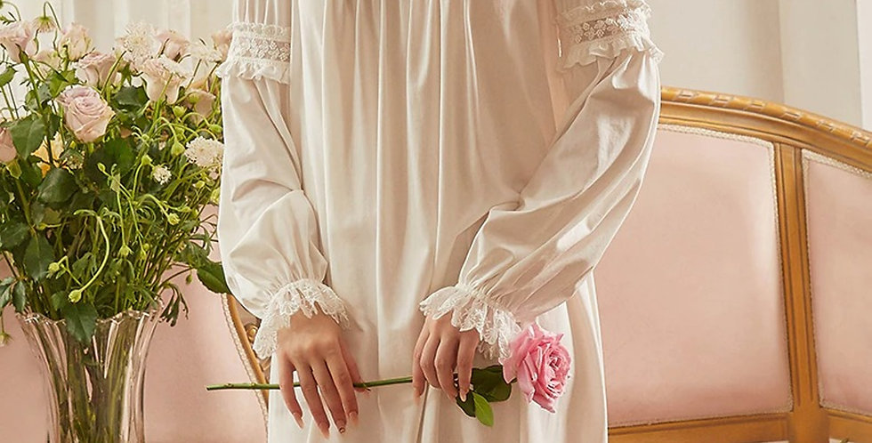 Cotton Lace Long Vintage Victorian Nightgown,Long Sleeve Edwardian Nightgown