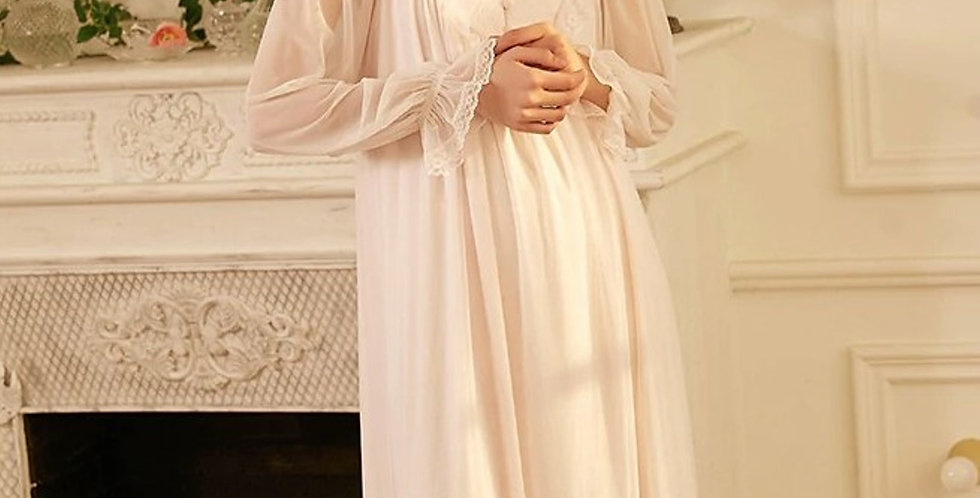Vintage White Victorian Cotton Nightgown,Chemise Edwardian Beautiful Nightgown