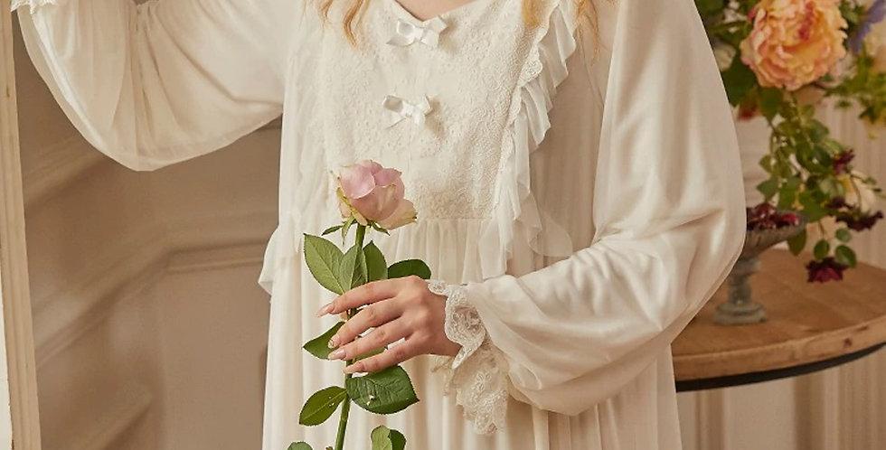 White Cotton Floral Victorian Cotton Nightgown,Vintage Edwardian Long Nightgown