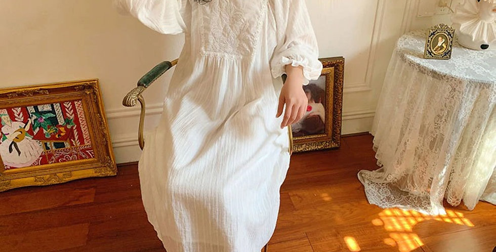 Vintage Cotton Victorian Nightgown,Chemise Edwardian Comfortable Nightgown