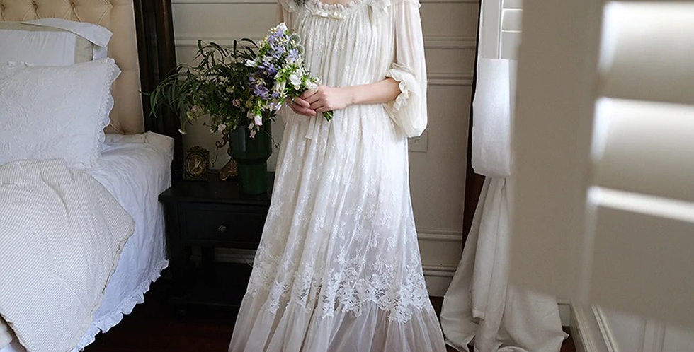 Vintage Embroidered White Lace Nightgown,Victorian Long Beautiful Nightgown