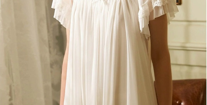 Vintage Summer Cotton Women's Nightgown,Comfortable Spring Nightgown For Women