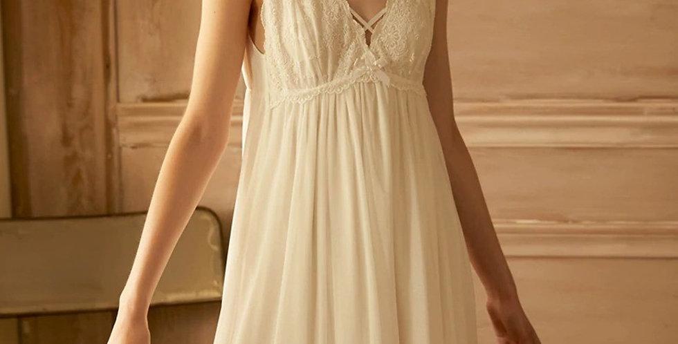 Vintage Summer  White Nightgown For women,Sleeveless White Spring Nightgown
