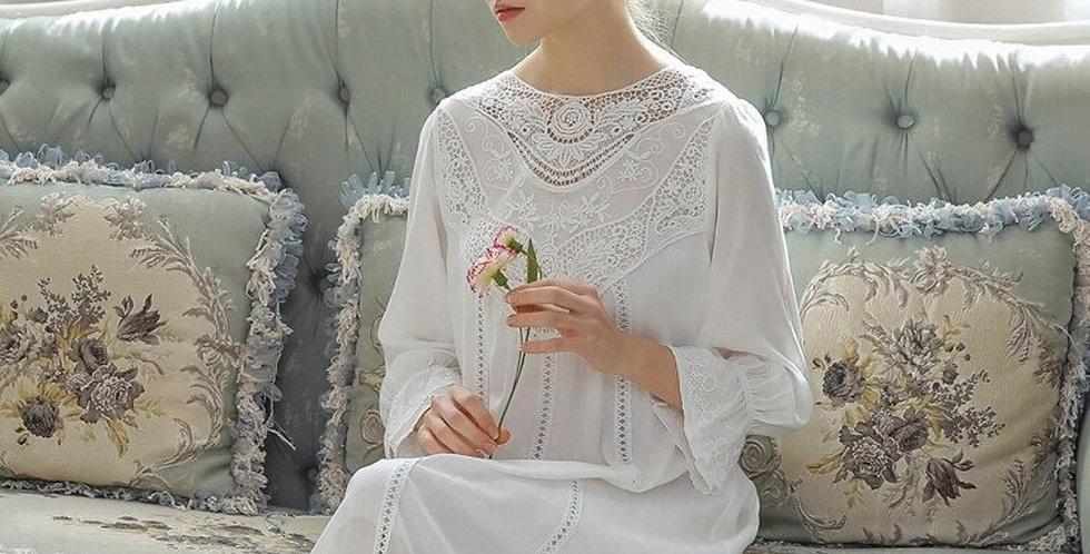 Vintage Victorian Gothic Cotton Nightgown,Renaissance Edwardian Womens Nightgown