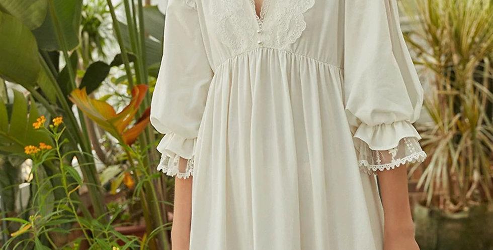 Cotton Lace White Vintage Victorian Nightgown| Chemise Renaissance Nightgown