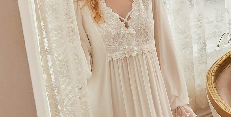 Embroidered Cotton White Vintage Nigthgown,Birthday Gift For Her Beautiful Gown