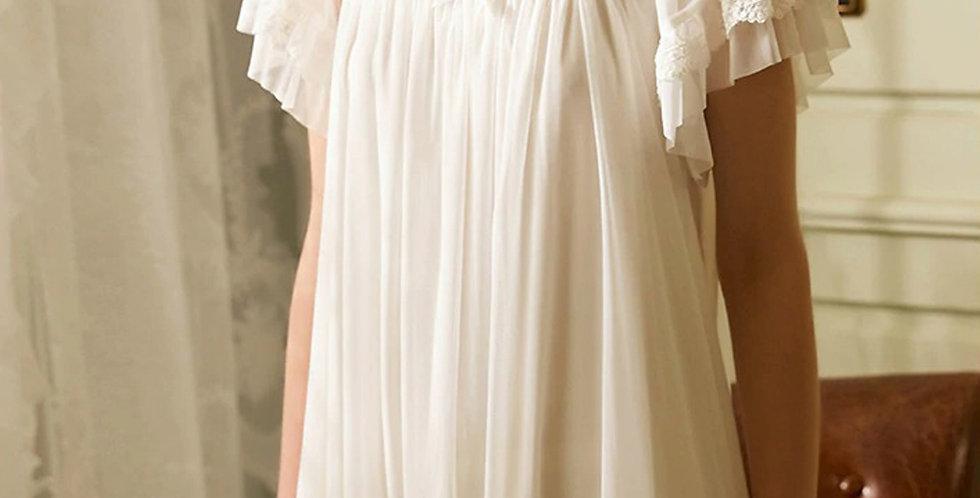 Vintage Cotton White Long Nightgown,Renaissance Vintage Cotton Women's Nightgown