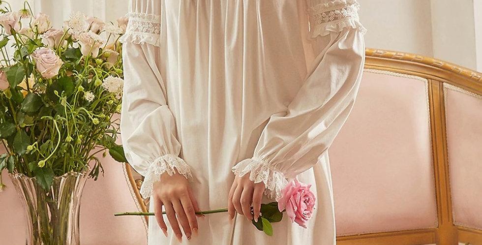 Long Sleeve Lace Vintage Cotton Nightgown,Chemise Edwardian Renaissance Gowns