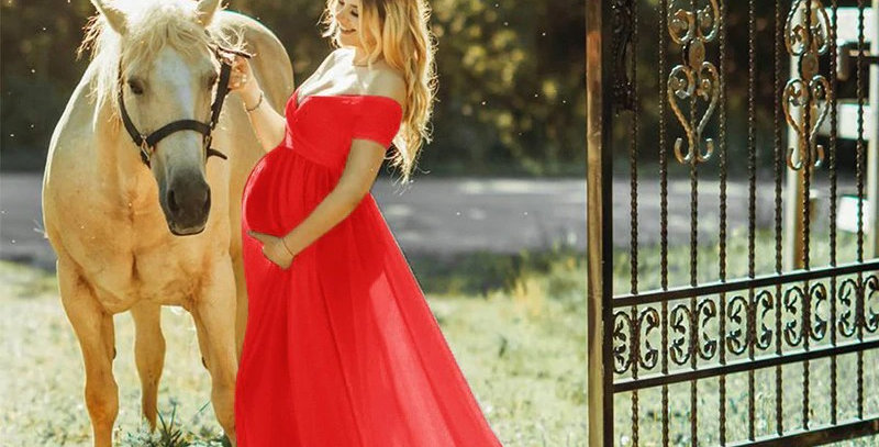 Off shoulder Sexy Maternity Gown For Photoshoot, Beautiful Baby Shower Dress