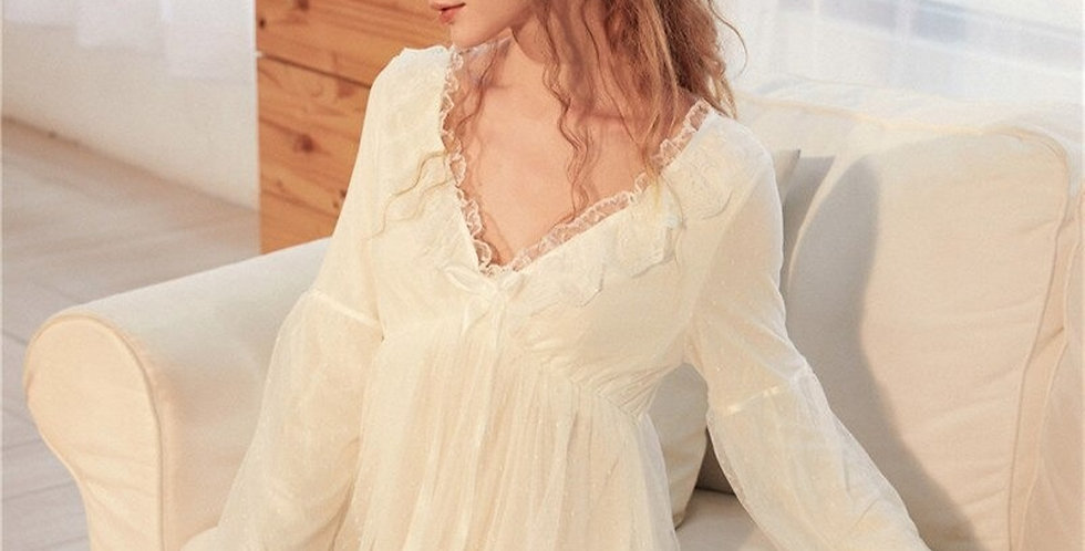 Lace EmbroideryVintage Nightgown,Anniversary Gift White French Nightgown For Her