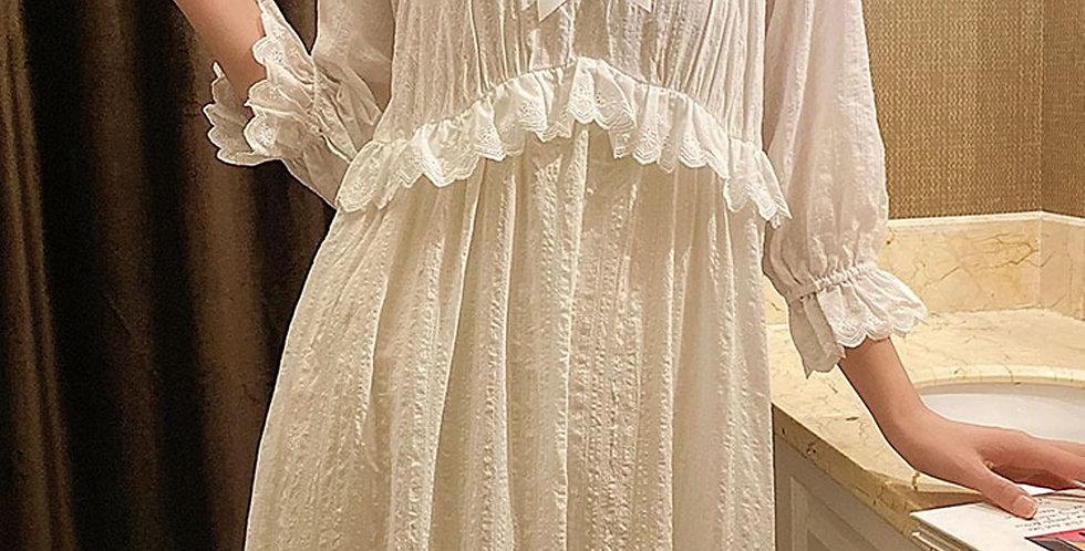 Luxurious Vintage Victorian White Cotton Nightgown,Edwardian Renaissance Gowns