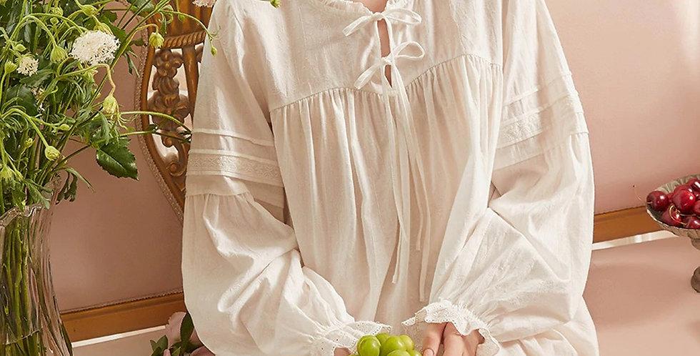 Cotton Longsleeve Vintage Beautiful Nightgown,Edwardian Chemise Women'sNightgown