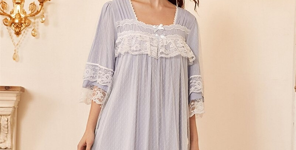 Vintage Lace Cotton Nightgown, Chemise Cotton Beautiful Loungewear For Women