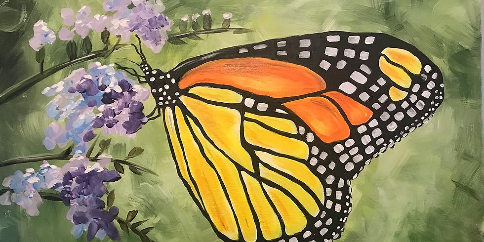 "Painting & Vino with Susie ""Monarch"" Register at paintingandvino.com"