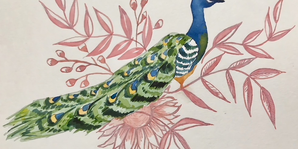 """Wine & Watercolor with Lindsey """"Peacock"""""""