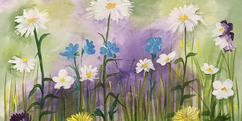 """Painting & Vino with Susie """"Spring Flowers""""  Promo Code OAKELIXIR25"""
