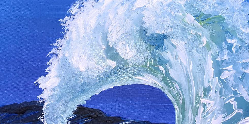 "Painting & Vino with Susie ""White Wave""  Register at paintingandvino.com"