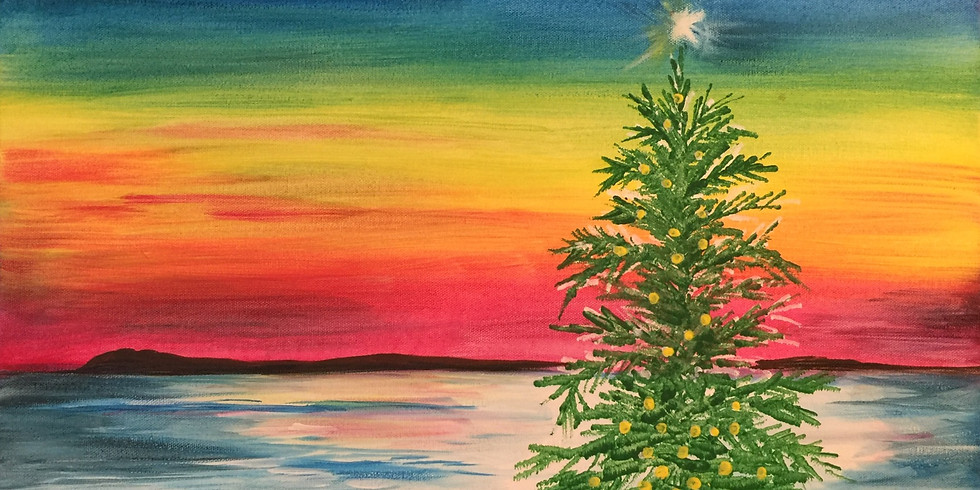 """Painting and Vino with Susie - """"Christmas Sunset"""" $25 class with promo code"""