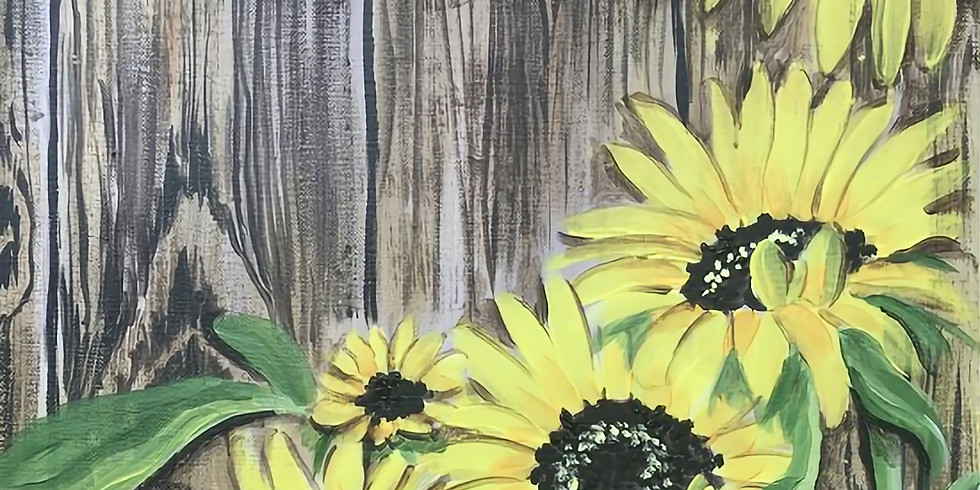 """Sip & Paint with Susie - """"Rustic Sunflowers""""  Register at paintingandvino.com  USE PROMOCODE OAKELIXIR25 for $20 OFF!"""