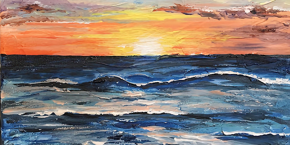 "Painting & Vino with Susie ""Carlsbad Sunset""  $35 Register at paintingandvino.com"