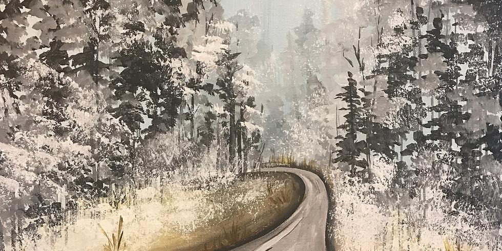 "Painting and Vino with Susie ""Wintery Road"" $25 Register: Paintingandvino.com"