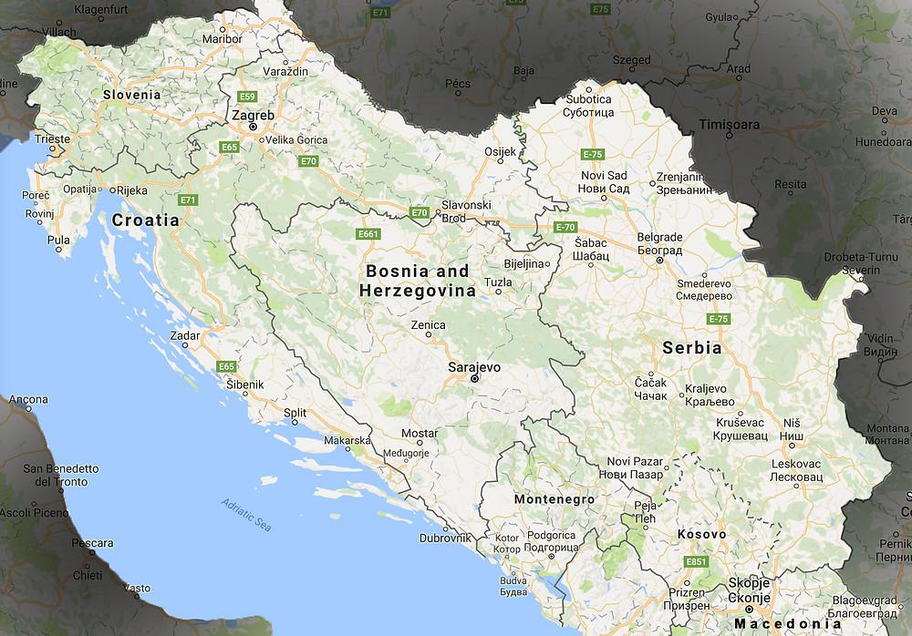 Peta Semenanjung Balkan, Bosnia dan Herzegovina
