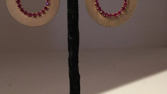 Vermeil Plated drop earrings with red crystals.