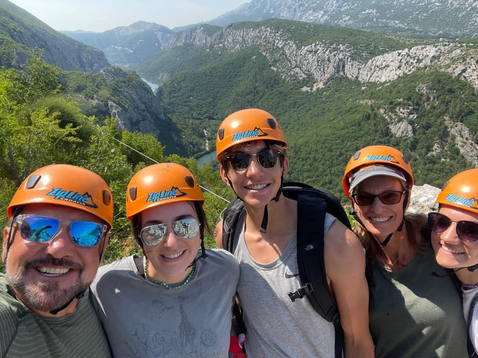 Zip-lining near Split (because every Kamali vacation includes a little crazy).