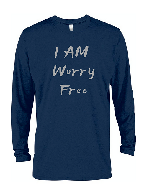 I AM WORRY FREE SCOOP NECK LONG SLEEVE TEE FOR MEN